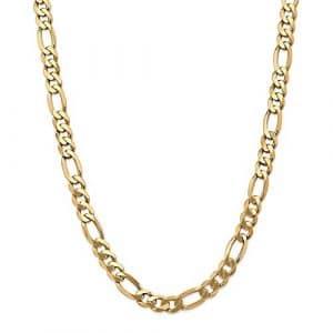22 mm 14 carats plat Figaro chaîne de cheville : 22,9 cm-Fermoir mousqueton-JewelryWeb