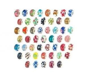 AlphaAcc Perle Verre Murano Lampe Argenté 100 Pièces Pour Bracelet Breloque Style Européen (100+3) – Métal base, Perles de verre 10 pièces, Verre, Verre