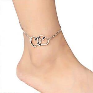 Cdet Bracelet de Cheville À double cœur en forme de la mode d'été à pied ornements anklet Anklet en argent pour femme avec chaînette Mode élégante