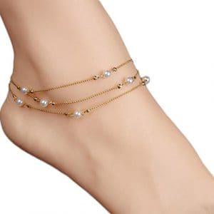 Cdet Bracelet de Cheville en Chaîne de perles de cuivre multicouche cheville Anklet en argent pour femme avec chaînette Mode élégante Plage