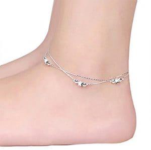 Cdet Bracelet de Cheville en Étoiles et perles avec double anklets Anklet en argent pour femme avec chaînette Mode élégante Plage