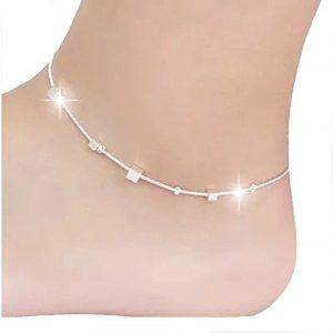 Cdet Bracelet de Cheville en Petite boîte carrée anklet Anklet en argent pour femme avec chaînette Mode élégante Plage
