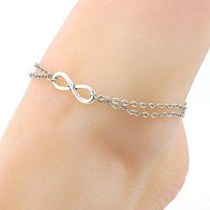 Cdet Bracelet de Cheville en Simple bicouches Anklet environs Anklet en argent pour femme avec chaînette Mode élégante Plage Perle