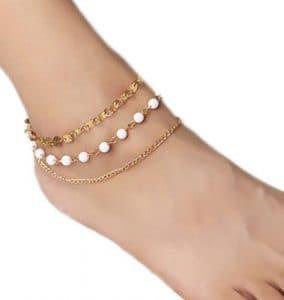 Cdet Bracelet de Cheville Simples paillettes multicouches perles bracelet de cheville Anklet en argent pour femme avec chaînette Mode élégante Plage Perle
