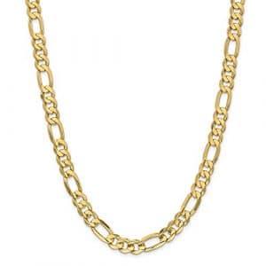 Concave 14 carats 22 mm Lien Figaro Chaîne de cheville ouvert – 9 mm-Fermoir mousqueton-JewelryWeb