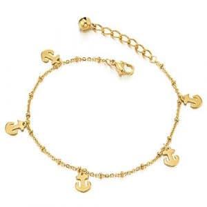 Couleur d'or Acier Inoxydable Femme Bracelets de Cheville avec Ancre Charms et Grelot