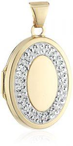 Crystelle – 340340174 – Médaillon Cassolette – Or Jaune / Blanc 375/1000 – Ovale – Cristaux de Swarovski Blanc – 29 mm