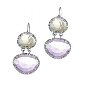 fini rhodium 10.9X 9.2mm Rose Quartz Améthyste Pendants d'oreilles taillé à 0,15CT. Diamant Blanc