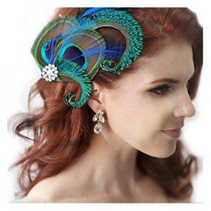 Jelinda® Femmes Pince à Cheveux en Plume de Paon pour Mariage Accessoire de cheveux (chic)