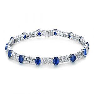 Or blanc 18ct brillant diamants Saphir Bracelet Mariage fiançailles fine Cadeau