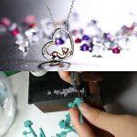 Cadeau De Fête Des Mères Cadeau Maman Collier J.Rosée Argent 925 Bijoux Femme Fille 5A Zirconium cubique Bleu Pendentif Idéal Chaîne 45+5cm Cadeau parfait Chat mignon