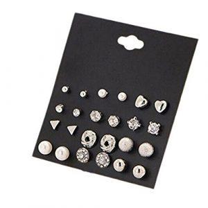 Cdet 12 ensembles de boucles d'oreille de zircon carré Boucles d'oreilles diamant coeur Peach boucles d'oreilles boucles d'oreilles clous Tour de cou pour femme bijoux accessories