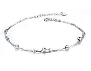 Dorosé Chaine de Cheville, Bracelet de Cheville Argent Sterling 925 pour Femme, Bijoux avec Boîte Cadeau (26 cm)