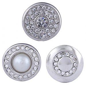 Morella Click-Button Lot de 3 boutons pression pour bijou femme à motif perle