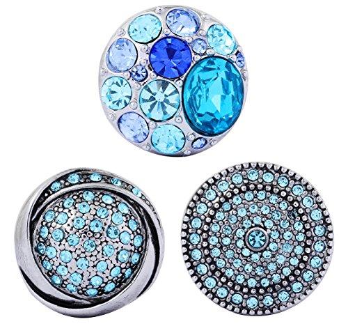 Morella Lot de 3 boutons-pression pour bijoux pour femme Strass