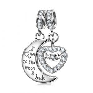 NinaQueen Love Perle attraits Charm pour femme argent 925 compatible avec pandora charms bracelets bijoux Cadeau Saint Valentin Fete des Meres Anniversaire Cadeaux Noel Maman Mere Fille