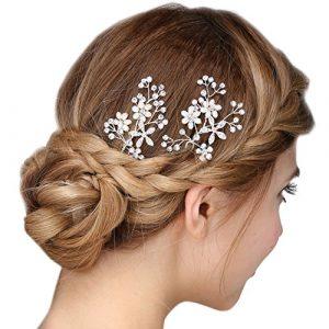 Perle Mariée et Cristal Floral Épingles Pince à Cheveux Mariage et Promo