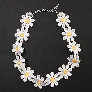 qhdz Rétro collier de fleurs marguerites Chick Pointe douce collier de Jaune