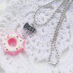 RainBabe Bijoux pour Enfants Collier Meilleurs Amis Pendentif de Forme Donut 2PCS