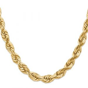 10 mm corde D-Cut 14 carats Fermoir Collier JewelryWeb 24 cm