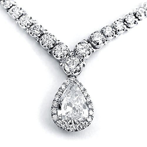 Forme de poire Diamant Eternity Collier rivière 102/5CT en or blanc 18carats (Chaîne de 40,6cm)