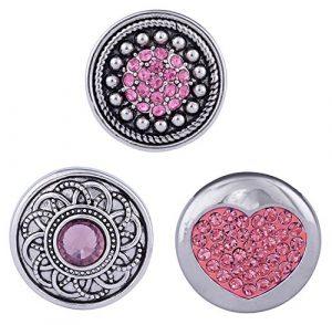 Morella click-button Lot de 3boutons pression pour bijou Cœur