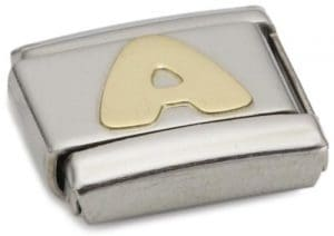 Nomination 030101 – Maillon pour bracelet composable Mixte – Lettre – Initiale – Acier inoxydable et Or jaune 18 cts