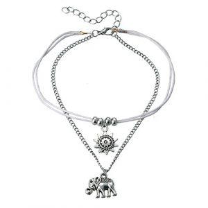 Rétro Fleur de Soleil éléphant Cheville, mode Tissage Bracelet de cheville Pied Chaîne Accessoires Bijoux de plage pour femmes et filles