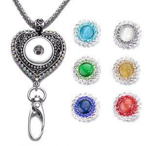 Soleebee 87cm Chaîne en argent interchangeable strass colorés Coeur d'amour ID Badge Lanyard Collier avec 6pcs Boutons-pression d'Alliage en Strass (Opéra de tissage)