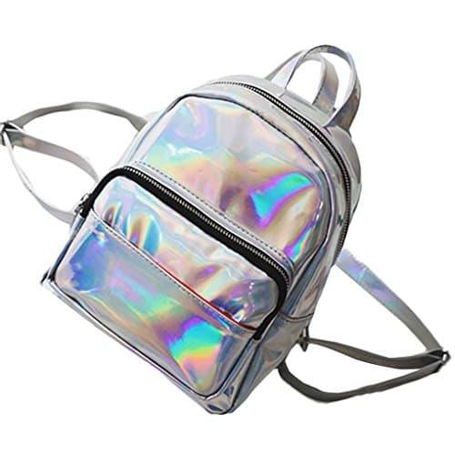 Koly の 2018 Mode Mini Femmes Sac à dos en faux cuir Ado Filles petit Sacs à bandoulière Double de scolaire Cartable sac de téléphone portable voyage Backpack Bag (24cm*20cm*10cm, argent)