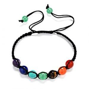 MJARTORIA Femme Bijoux Bracelet de Main Yoga Tibétain Corde Tissé Perle Pierre Energie Chakra Guérison Equilibre Réglable Multicolore