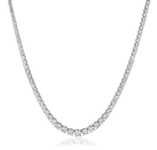 10CT Certified G/VS2 Round Brilliant Cut Claw Set Diamond Necklace in 18K White Gold