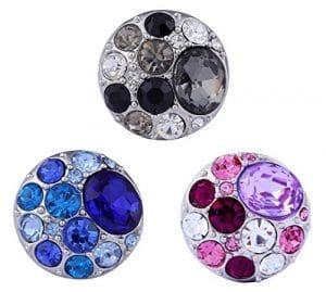 Morella Lot de 3 click-boutons avec pierres de couleur pour femme