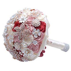 Nuptiale Cheveux Clip Accessoires Cocktail Fait main strass perles de satin mariée mariée demoiselle d'honneur mariée artificielle tenant des bouquets pour le mariage, photo tir, la Saint-Valentin, ca