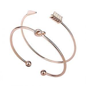 Godagoda Bracelet Set 2pcs Ensemble Femme Fille Style Moderne Noeud de Flèche