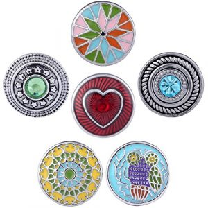 Morella boutons pression Lot de 6Click Button Cœur mosaïque multicolore