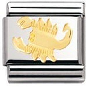 Nomination – 030104 – Maillon pour bracelet composable Mixte – Signe astrologique – Scorpion – Acier inoxydable et Or jaune 18 cts