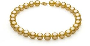 Or 14-15.7mm AAA+-qualité des Mers du Sud 585/1000 Or Jaune-Collier de perles-18 cm