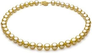 Or 9-11.7mm AAA-qualité des Mers du Sud 585/1000 Or Jaune-Collier de perles-18 cm