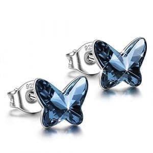 ANGEL NINA Femme Boucles d'oreilles Papillon en Argent Sterling 925 avec cristaux Swarovski Denim Bleu Bijoux Cadeau pour L'Aniversaire Noël La Fête des Mères Mère Elle