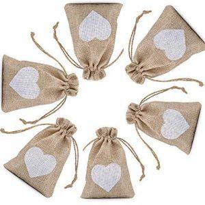 CozofLuv sac cadeau de bonbons | 25 pcs jute pochette baptême sac de mariage lumières de noël pour lavande bonbons cadeaux cadeau sac pour farce bijoux sac petit (Couleur naturelle-Coeur blanc)