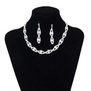 Light Fast Femmes 's ensemble de bijoux mariage nuptiale strass strass collier boucles d oreilles oreilles dangel