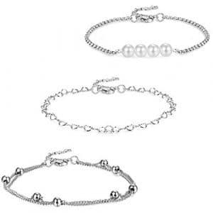Yadoca 3 Pcs Bracelet Cheville Femme Fille Couleur Argent Bracelet de Cheville Chaîne avec Perle d'Imitation Bijoux de Pieds Reglable 21+5cm