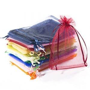 Comius Lot de 100pcs Sachets Pochettes Cadeau en Organza, Mixte Couleur, environ 15cm x 10cm