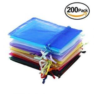 Sacs-cadeaux en organza, Ulable 200 pièces, sac de fête de mariage, bijoux, pochettes pour bonbons avec cordon (20 couleurs, 9 x 12 cm)