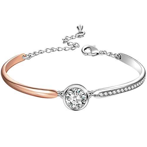 Angelady ❤Cadeau de La Saint-Valentin❤ Bracelet Argent Femme Bracelet Or Rose pour Femme avec des Cristaux Swarovski Cadeau Maman Cadeau Femme -avec Boîte Cadeau de Bijoux