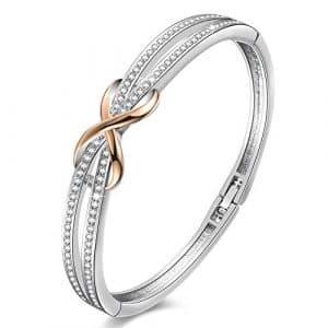 Angelady ❤Cendrillon❤ Classique Bracelet Argent Or Rose pour Femme avec des Cristaux Swarovski Bracelet Femme Argent Le Cadeau de La Saint-Valentin pour Femme -avec Boîte Cadeau de Bijoux