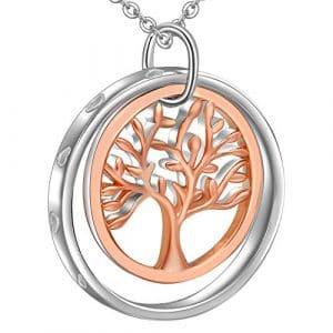 LOVORDS Collier Femme en Argent 925/1000 Pendentif Anneau Cercle et Arbre de Vie Cadeau Maman Amoureux Romantique pour Elle