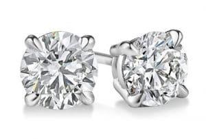 14K Or blanc diamant coupe ronde Boucles d'oreille à tige 1.83CT, BuyFineDiamonds F-G Couleur, SI3Clarté