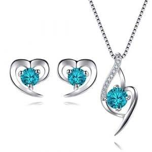 Bijoux en Argent 925 Ensemble Collier Pendentif Coeur Boucles d'oreilles Zirconium cubique Cadeau avec Paquet exquis (Blue)